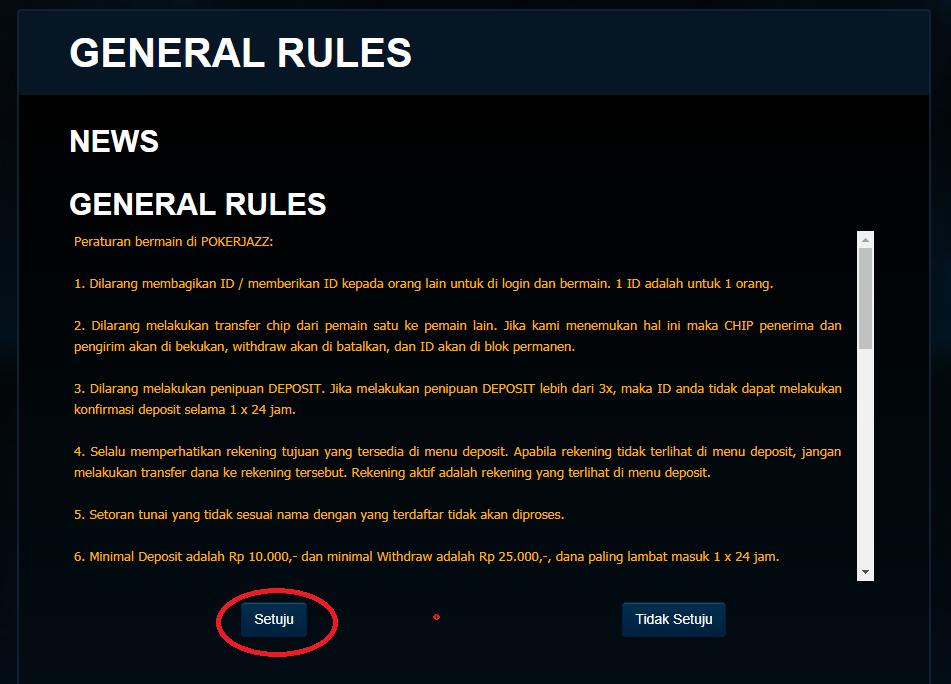 Peraturan sebelum bermain