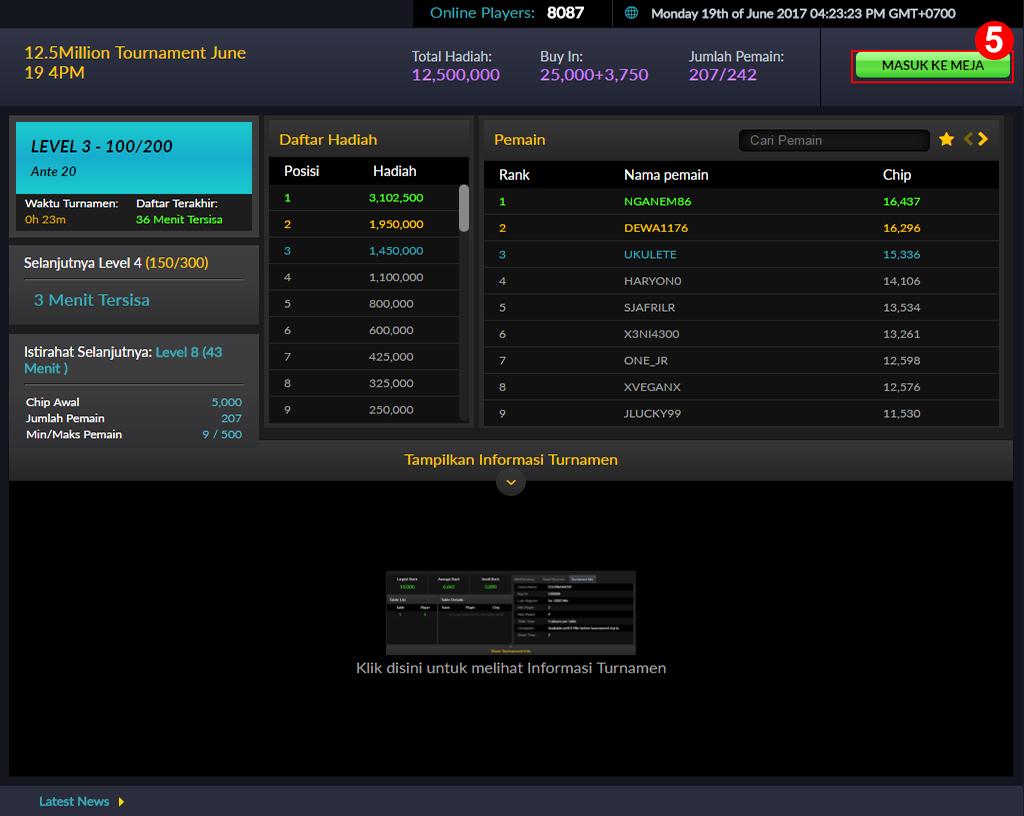 Cara Melakukan Pendaftaran Turnamen Coin IDN Poker